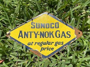 Vintage Sunoco Porcelain Metal Gas Station Oil Service Yellow Anty-Nok Fuel Sign