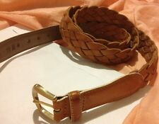 Bally Men's Belt Size 44 Woven GENUINE ALL Leather $400 Made In Italy Lt Tan