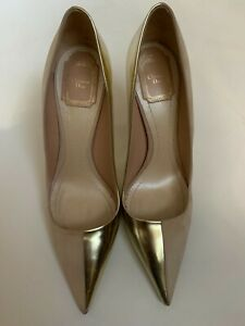 DIOR Two Toned Nude Suede / Metallic Gold Profil 10cm Pumps Size 39 US 8.5