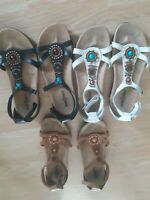 Set of 3 Minnetonka Sandals Beads Ankle Strap White Brown Womens Shoes Open Toe