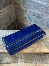 Alexander Wang Dark Blue Fold Over Leather and Suede Clutch