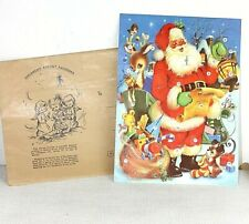 Christmas Advent calendar & original envelope Santa Dog reindeer Vtg Glitter 3