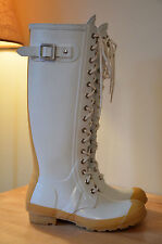 HUNTER Watling White Lace Up Rubber Rain Boots Women's EU 37 UK 4 US 6