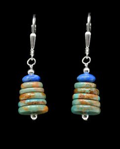 "Sterling Silver W/Royston Turquoise & Lapis Lazuli ""Bell"" Leverback Earrings"