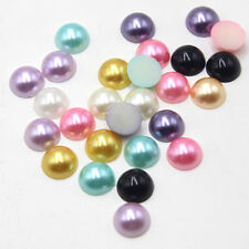 200 pcs 12mm Mix Color Resin Faux Pearl Half Round Beads Scrapbook Crafts Button