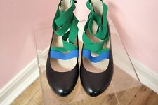 New PRADA 39 9 Ballet Flats Womens Black RARE Blue Green Designer Leather Shoes