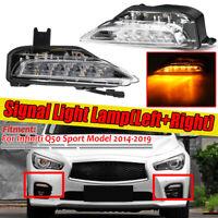 For Infiniti Q50 Sport Model 2014-2019 Pair Front Bumper Fog Signal Lamp Light