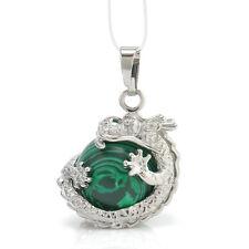 Retro Silver Natural Crystal Hexagonal Gemstone Dragon Pendant Necklace Jewelry