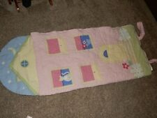 Pottery barn Kids Pink House Cat Windows Quilted Sleeping bag Comforter blanket
