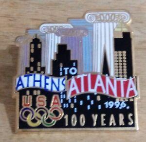 1996 1896 Athens To Atlanta Olympic Bridge Large Pin City Columns USA Rings