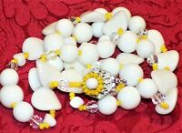 SIGNED MIRIAM HASKELL WHITE MILK GLASS YELLOW & CRYSTAL BEADED LONG VTG.NECKLACE