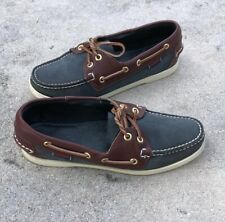 Sebago Docksides Spinnaker Womens Brown Navy Leather Boat / Deck Shoes Size 7.5M
