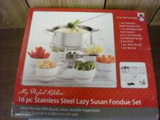 New ListingMy Perfect Kitchen 16 Pc. Stainless Steel Lazy Susan Fondue Set, Nib