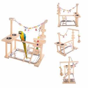 Parrot Play Stand Bird Playground Wood Perch Gym Playpen Ladder With Feeder Gift