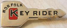 NORFOLK KEY RIDE ( Bike trainer ) Badge Brooch pin In gilt 40mm x 17mm