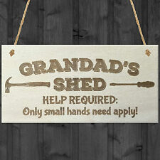 Red Ocean Grandads Shed Help Required Novelty Wooden Hanging Plaque Garage Door