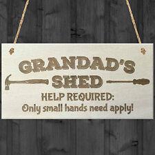 Grandads Shed Help Required Novelty Wooden Hanging Plaque Garage Door Gift Sign