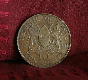 1980 Kenya 10 Cents World Coin KM18 Africa Lions spear Daniel Toroitich Arap Moi