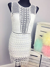 Goldie Mixed Crochet Bodycon Dress With Zip Back RRP £65 (AS-10/10)