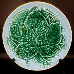 "Majolica Pottery Leaf Plate Marked JJ 8.5""dia   s-2F"