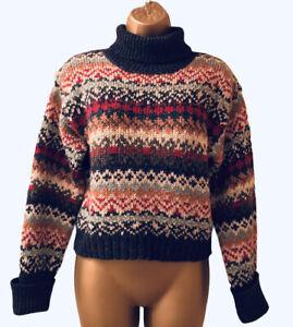 Top Shop Fair Isle Jumper S/M 10-12 Wool Blend Ski Nordic