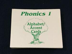 SAXON PHONICS / SET OF 74 / ALPHABET - ACCENT CARDS / PHONICS 1 /  GREEN SET