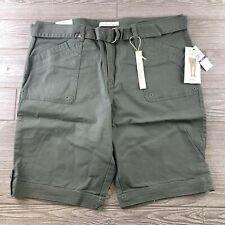Gloria Vanderbilt Sierra Shorts Size 14 Khaki  Sweet Basil Belted  NEW WITH TAGS