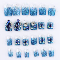 24pcs/set  Acrylic French Nails Full Cover Nail Tips False Art Crystal Diamond~