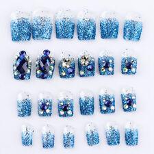 24pcs/set  Acrylic French Nails Full Cover Nail Tips False Art Crystal Diamond~