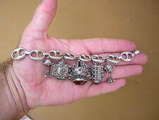 VINTAGE 800 Silver ETRUSCAN Fob Charm Bracelet w 5 BIG Charms! BOLD + CHUNKY!