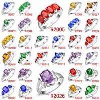 Size 6-9 Sapphire Rings Colorful Crystals For Fashion Wedding 925 Silver Jewelry