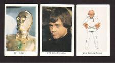 Star Wars Lot of 3 1983 Swedish Cards C-3P0 Mark Hamill Admiral Ackbar
