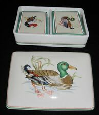 Fitz & Floyd Canard Sauvage, Duck Motif, Playing Card Box w/ 2 Decks of Cards