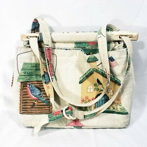 Vintage 80s Toby Weston Tapestry Purse Handbag Bag Travel Tote Canvas Birdhouse