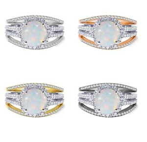 18k Gold Plated Round White Fire Opal Wedding Engagement Silver Ring Set 2.35 Ct