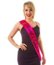 HOT PINK 50th Diamante Happy Birthday Sash 50 and Fabulous in BLACK Holographic