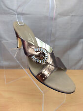 Onex Gold Bronze Open Toe Heels Sandals Jewel Embellished Wide Strap Size 9.5 40
