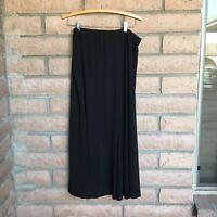 Dressbarn Woman Skirt Solid Black Size 18/20 Elastic Waist Ankle Length USA Made
