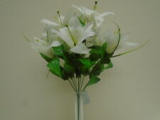 "WHITE Tiger Lily Bush Satin 9 Artificial Flowers 17"" Bouquet 1855WH"