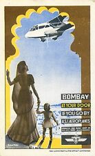 ASI AIR SERVICE OF INDIA  BOMBAY AT YOUR DOOR AIRLINE AVIATION LUGGAGE LABEL