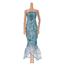 "1 Pc Fashion Sequin Sky Blue Mermaid  Dress for 11"" Barbies Dolls New Beauty ,t"
