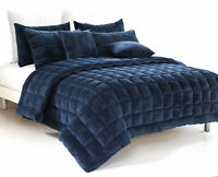 Plush Faux Mink Augusta Quilt Set  | Comforter Set  | Navy Blue | King