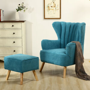Lazy Sofa Cosy Reading Armchair Relaxer Chair+Footstool w/Wooden Feet Teal Blue