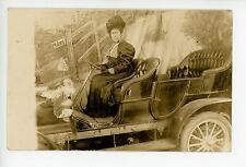 Woman in Antique Auto w American Flag RPPC Antique Studio Photo HAT ca. 1910s