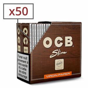 Boite 50 Paquets Carnets Feuilles OCB SLIM VIRGIN NON BLANCHIE avec Normes FR