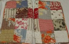 Set 2 Pottery Barn Standard Shams Orange Floral Patchwork Quilted Stripe Plaid