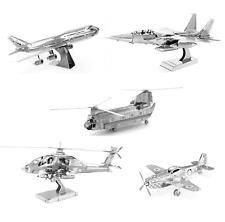 5 Metal Earth Kits P-51 Mustang Boeing 747 F-15 Eagle AH-64 Apache CH-47 Chinook