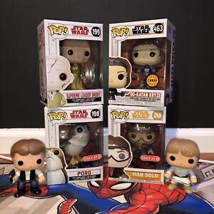 Star Wars Funko Pop Lot, Han Solo, Porg, Luke Skywalker, Bo-Katan Kryze Chase