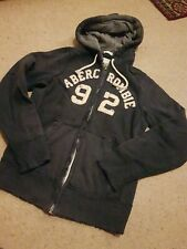 ABERCROMBIE & FITCH 92 muscle blue heavy weight faded zipped HOODIE small