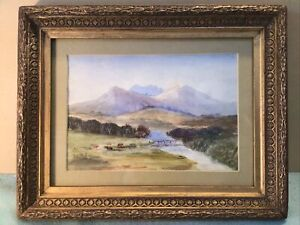 Signed Late Colonial Framed Australian Watercolour